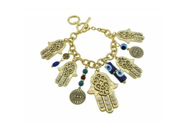 Gold Tone Hamsa Charm Bracelet with Toggle Clasp