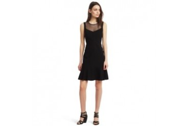 Neda Mesh-Trim Knit Dress