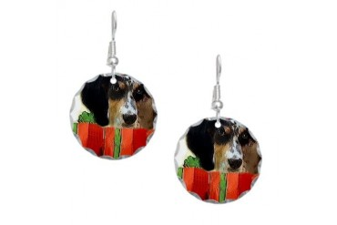 english setter puppy christmas signed.png Earring Art Earring Circle Charm by CafePress