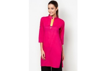 HiDY 3/4 Sleeves Plain Cotton Kurti