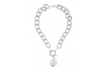Saturation Silver Pearl Necklace