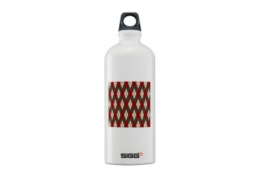 Argyle Red Gray Holiday Sigg Water Bottle 0.6L by CafePress