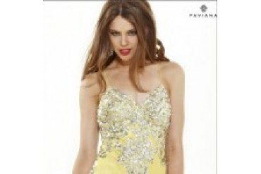 "Faviana ""In Stock"" Yellow Dress - Style 7113"
