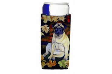 Fawn Pug in Fall Leaves Ultra Beverage Insulators for slim cans 7160MUK