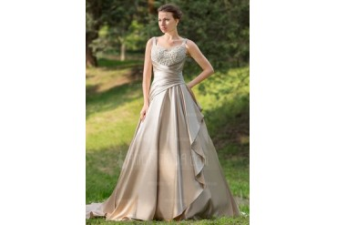 Ball-Gown Sweetheart Court Train Satin Wedding Dress With Ruffle Lace Beading Cascading Ruffles (002024696)