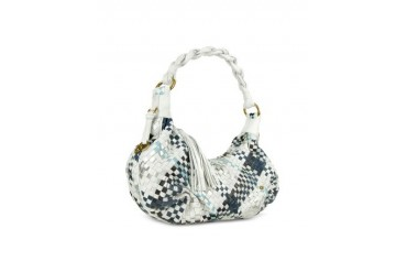 Blue & White Woven Leather East/West Hobo Bag