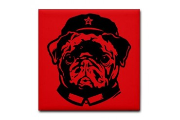 Black Pug Chairman Icon - Tile Coaster