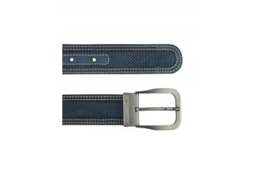 Men's Navy Blue Perforated Leather Belt