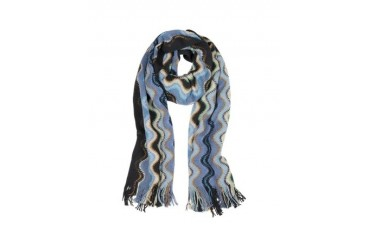 Waves Wool Blend Fringed Scarf