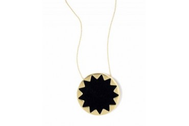 House of Harlow Leather Sunburst Pendant Necklace Black