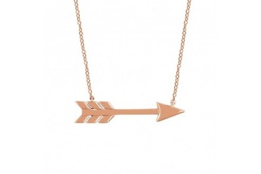 Dainty Horizontal Arrow Necklace in 14K Rose Gold, 18 inch