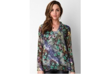 sophistix Roxy LS Blouse In Print With Tank Top