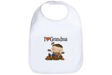 Autumn Boy I Love Grandma Baby Bib by CafePress