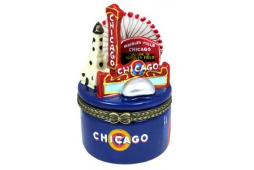 Windy City Chicago Icons Wrigley Field Porcelain Hinged Trinket Box phb