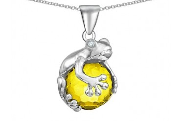 Star K Frog Pendant 10mm Simulated Citrine Ball