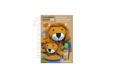 Endangered Species Bath Mitt Set Lion and Cub 3 Ct/Set