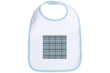 Blue Green Plaid Print Vintage Bib by CafePress