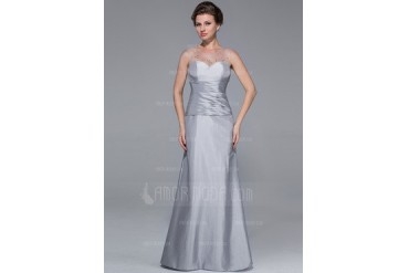 Trumpet/Mermaid Scoop Neck Floor-Length Taffeta Tulle Mother of the Bride Dress With Ruffle Beading (008025725)