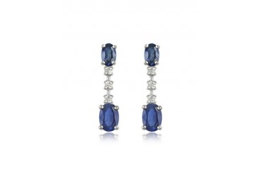 Sapphire and Diamond 18K Gold Drop Earrings