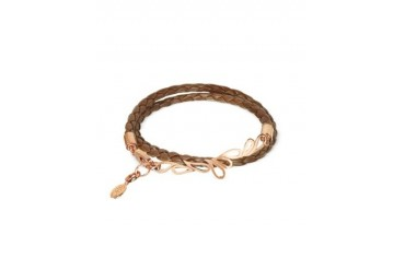 Mari Fiendship Rose Gold Plated & Leather Double Bracelet