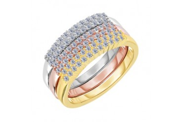 Sterling Silver Rose Yellow Stackable Triple Set Bands And Cubic Zirconia