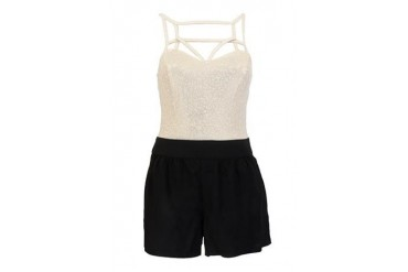 Foiled cage bodice solid short romper