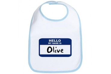 Hello: Olive Name Bib by CafePress