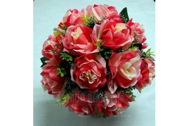 Bright Red Round Satin Bridal Bouquets (123031493)