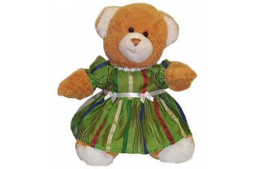 Green Stripe Party Dress 4 Stuffed Animals