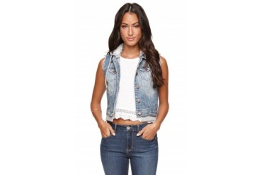 Womens La Hearts Jackets - La Hearts Fleece Hood Denim Vest