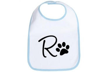 R and Dog Paw T-shirt Dog Bib by CafePress