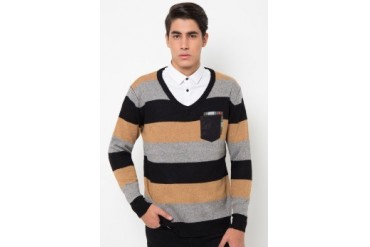 (X) S.M.L Double Pocket Stripes Pullover