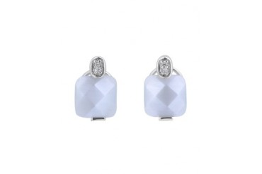 C.Z. Sterling Silver Rhodium Plated Mother Of Pearl Earrings
