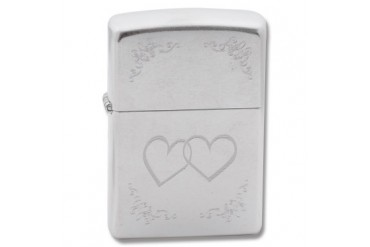 "Zippo ""Heart To Heart"" Lighter with Street Chrome Finish"