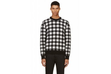 Saint Laurent Black And White Wool Check Sweater