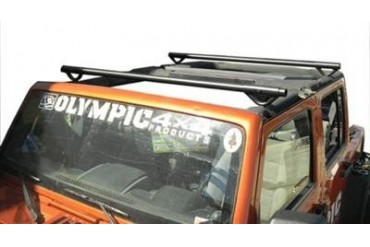 Olympic 4x4 Products Quick n Easy Rack in Gloss Black for JK Wrangler Unlimited 908-171 Roof Rack