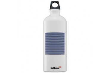 Blue White Nautical Stripes Art Sigg Water Bottle 1.0L by CafePress