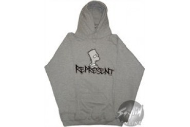 Simpsons Bart Respect Screen Gray Hooded Sweatshirt