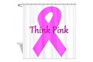 Breast cancer awareness think pink ribbon large.p Breast cancer Shower Curtain by CafePress