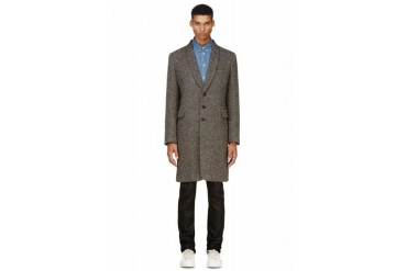 Ann Demeulemeester Grey Donegal Tweed Coat