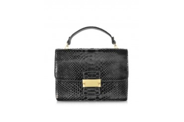 Black Python Leather Mini Bag