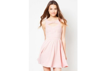 Material Girl Bow Front Textured Flare Dress