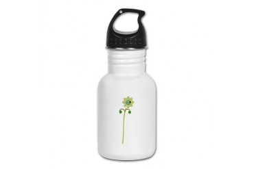 Green Button Flower Nature Kid's Water Bottle by CafePress