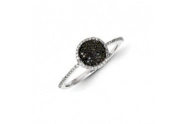 1 4 Ctw Black amp White Diamond 8mm Round Ring in Sterling Silver
