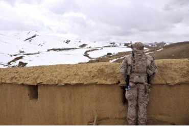 Coalition forces visit the Hazaran village in Afghanistan.