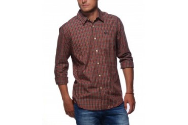 Rvca 'Oil Rag' Long Sleeve Button Down Shirt Red, L