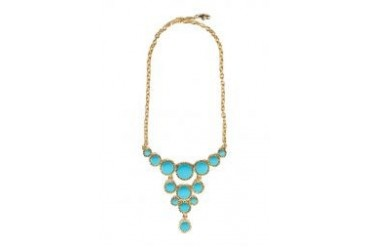 Kenneth Jay Lane Gold/Turquoise Cabachon Drops Bib Necklace