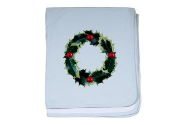 Holly Wreath Christmas baby blanket by CafePress