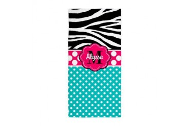 Pink Blue Zebra Personalized Beach Towel