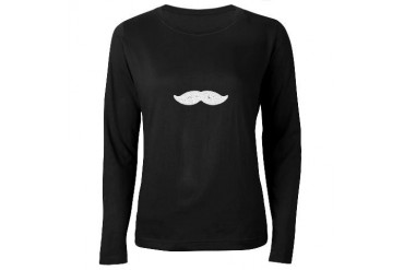 Mustache Funny Women's Long Sleeve Dark T-Shirt by CafePress